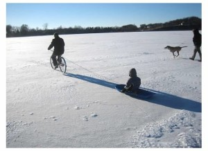 biking on the ice